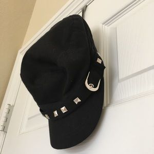D & Y Black and Silver Rivets Hat